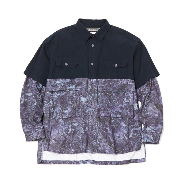 FALLEN LEAVES PRINTED CONTRASTED BIG SHIRT - NAVY