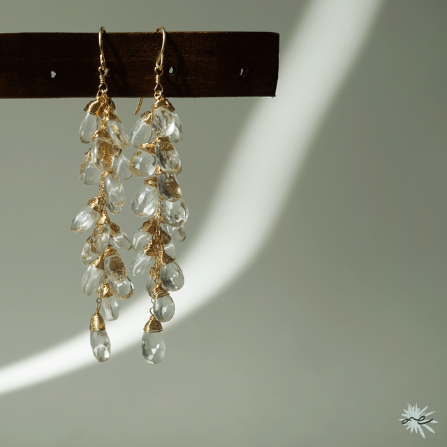 Crystal Quartz Cluster Earrings/14KGF