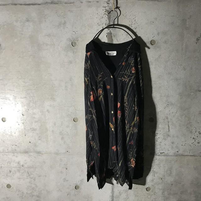 [used] hidden striped flower designed shirt