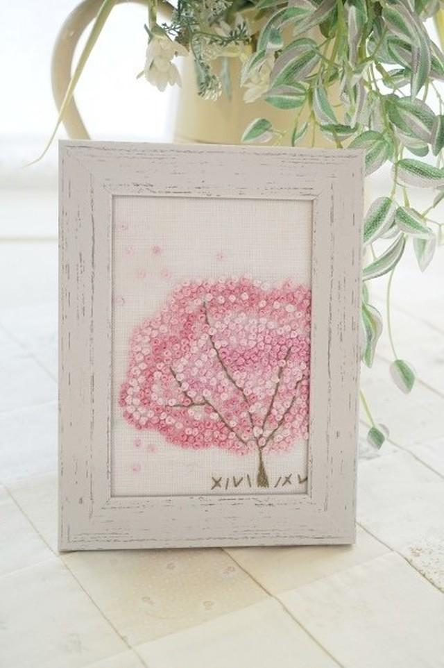 ★刺繍作成キット フレンチナットステッチで描く《桜の木》のフレーム★