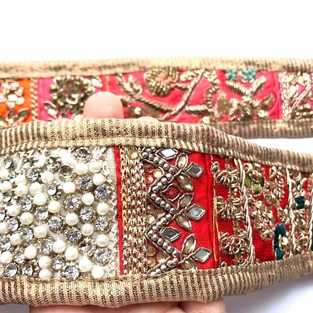 パッチワーク刺繍インドリボン(M)