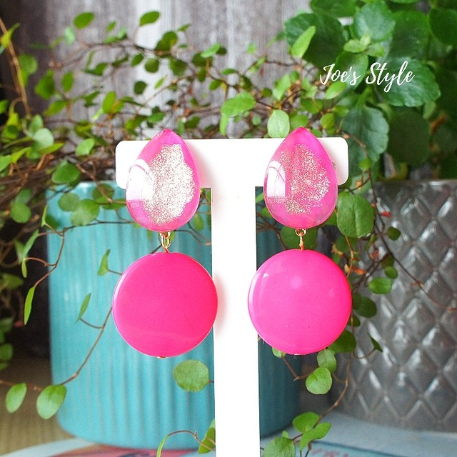 """ Earrings NO.0-1830″ PINK!!"