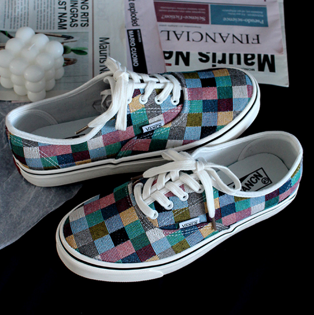 Colorful check pattern canvas sneakers LD0574