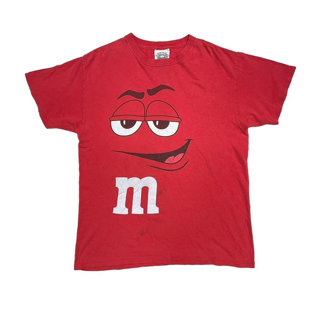 m&m's CARTOON BIG FACE TEE RED FIT LIKE LARGE 00878