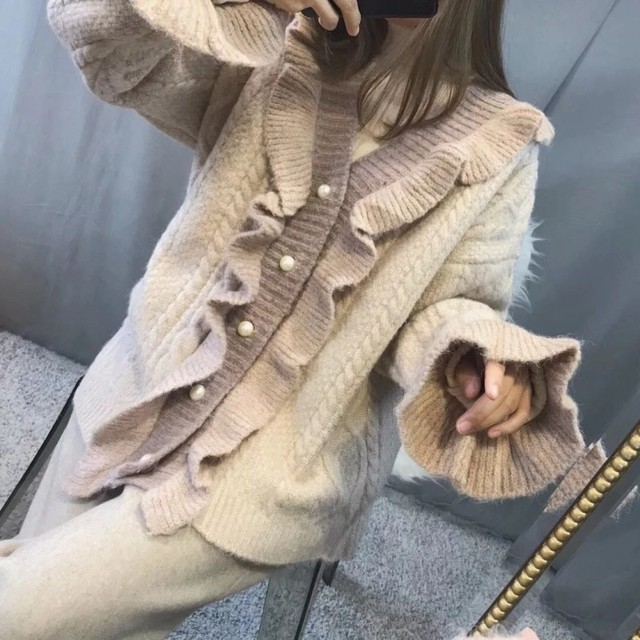 激カワ フリル カーディガン ニットジャケット セーター SHM211901