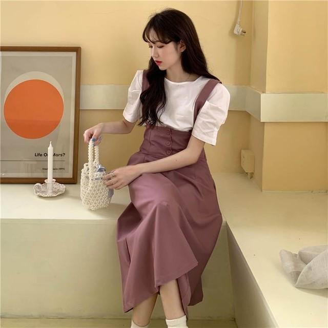 【送料無料】おしゃれ セットアップ ♡ 2点セット ガーリー 大人可愛い 半袖 パフスリーブ ブラウス × サス付き フレア ロング シャンパースカート