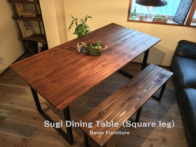 送料無料 ダイニングテーブル 160cm スギ材 アイアン [Sugi  Dining Table (Square leg)]