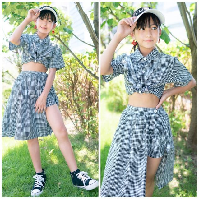 【Mukuコラボ】 110~160cm 2way ★ セットアップ パンツ ギンガムチェック 半袖