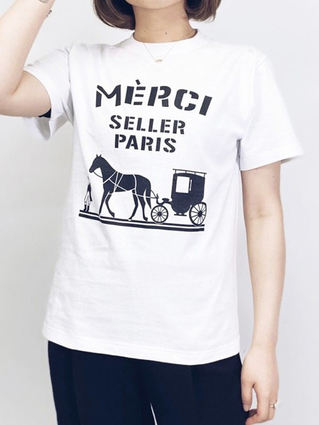 merciロゴTシャツ/Sサイズ[Color:ホワイト×ブラック]