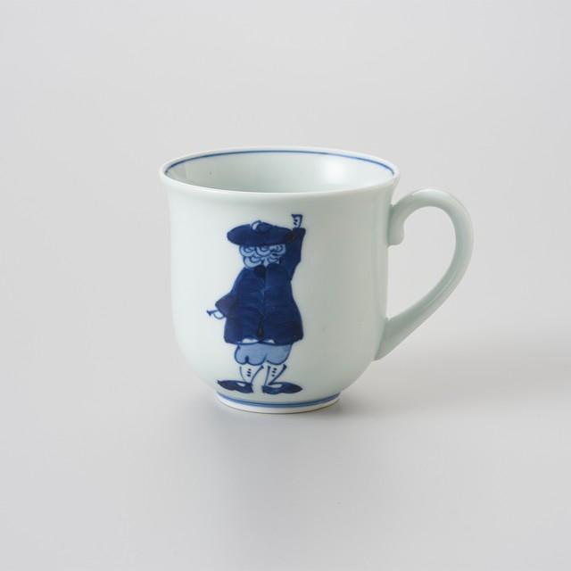【青花】カール紅毛人 反マグカップ