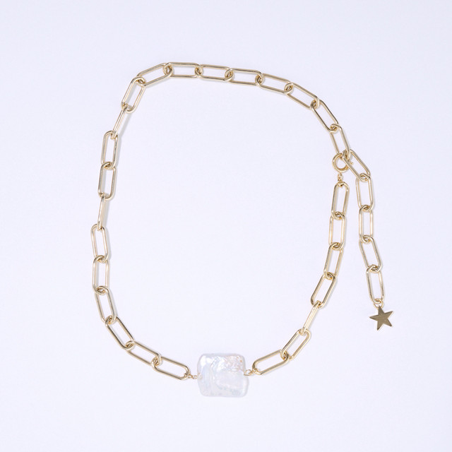 Plate Pearl Chain Necklace