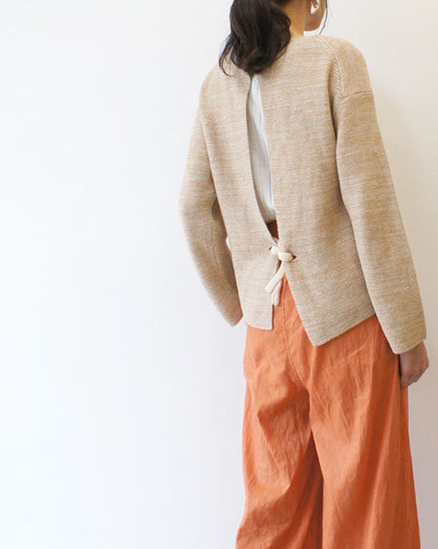 french linen honeycomb-knit sweater / unfil