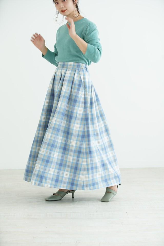 volume tuck Check skirt