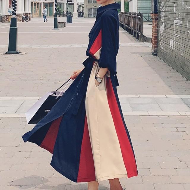 【ワンピース】魅力視線集中ファッション長袖折り襟Aラインシャツワンピース33563507