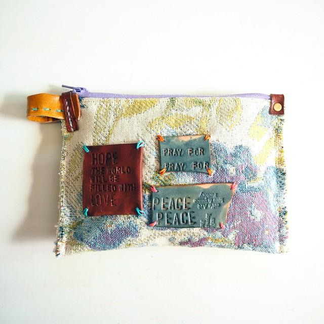 布と革のポーチ LE-1362