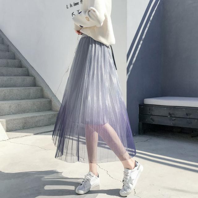 【bottoms】ハイウエストプリーツスカートファッショングラデーション色スカート