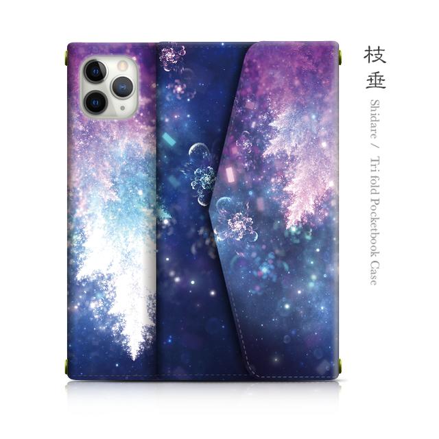 枝垂 - 和風 三つ折り手帳型iPhoneケース