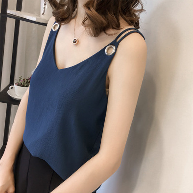 【tops】Sleeveless V-neck stripe velvet lace vest