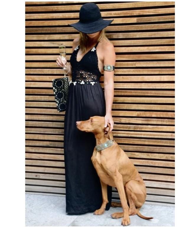 ◆Mon ange Louise◆ CROCHET HALTER DRESS(black)リゾートドレス ワンピース