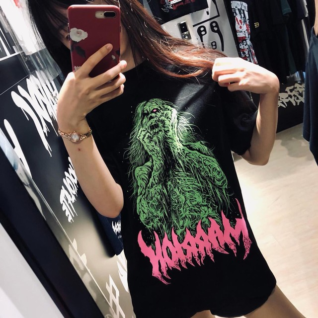 【Cotton100%】Brutal Zombie Marrion Green Tee (Green×Pink)