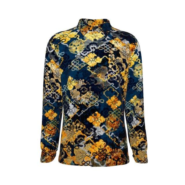 家紋装飾 Blue Gold ユニセックスロングスリーブシャツ