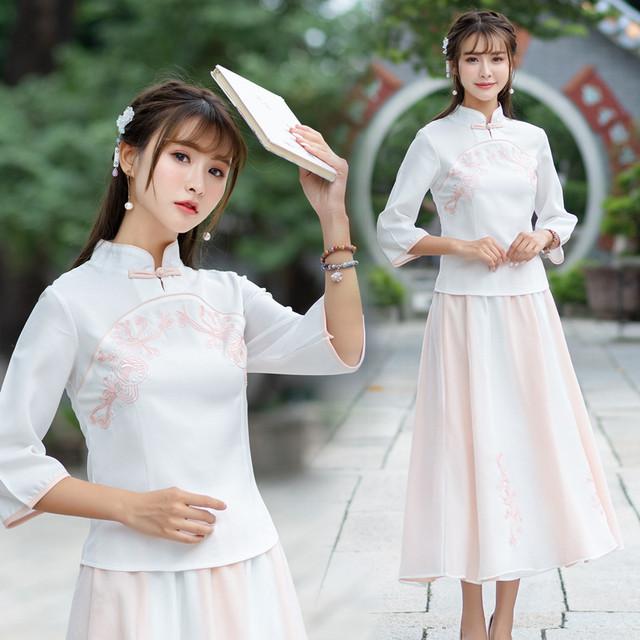 チャイナ風服 2点セット セットアップ 上下セット チャイナドレス 唐装 漢服 トップス スタンドネック 七分袖 チャイナボタン ショート丈 スカート 大きいサイズ M L LL 3L エレガント ホワイト 白い
