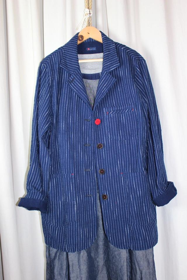 LLサイズのジャケット JK 01 藍染濃紺ダンガリー(K9)