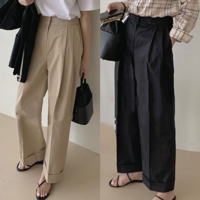 wide roll-up pants[2104-25]