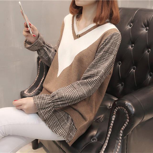 【tops】重ね着風チェック柄vネックシンプル感じセーター