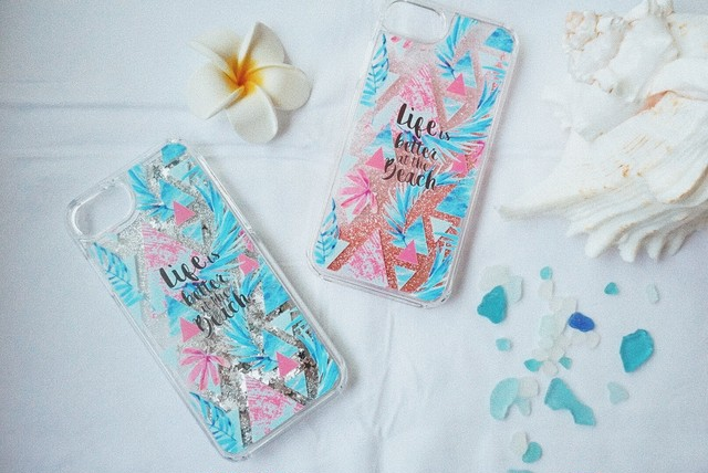 glitter iPhone case【triangle leaf pattern】受注制作