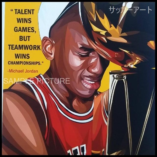【51*51cm 特大サイズ】 スポーツグラフィックアートパネル マイケル・ジョーダン デザインC 木製 壁掛け ポスター (004-078)