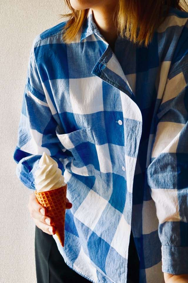 Vintage asymmetry check shirt
