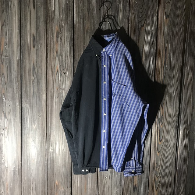 [used]black × stripe switching  shirt