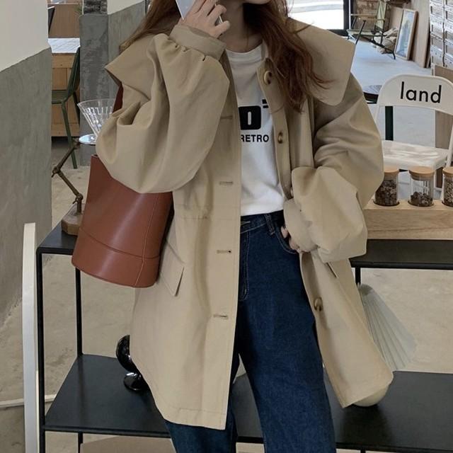 韓国版春のパフスリーブコート   O-046