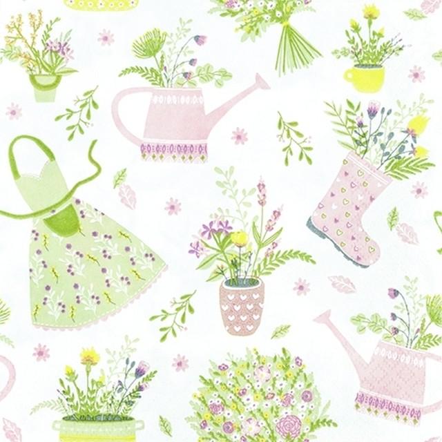 【Home Fashion】バラ売り2枚 ランチサイズ ペーパーナプキン MY LOVELY GARDEN ホワイト