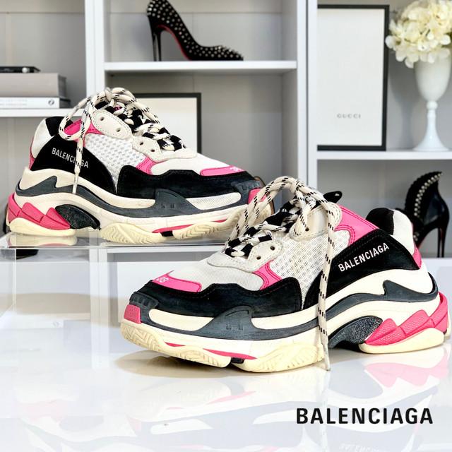 1992 美品 バレンシアガ トレーナー トリプルS スニーカー 白 ピンク 黒