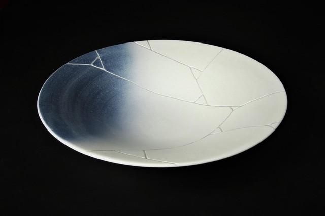 銀氷裂紋27cm平鉢 有田焼