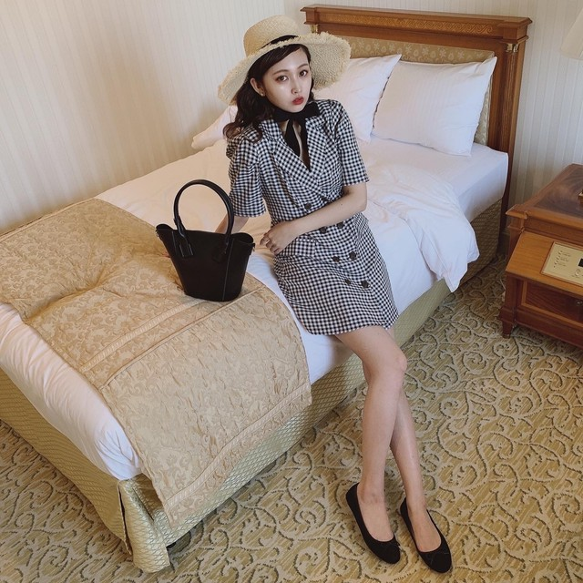 gingham check jacket onepiece