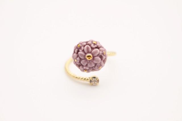 リング flower  濃紫