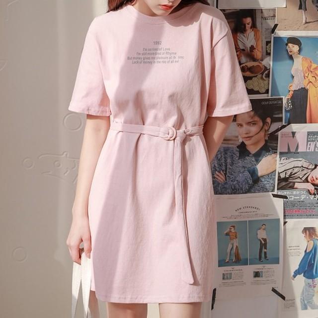 【dress】学園風配色半袖POLOネックAラインカジュアルワンピース