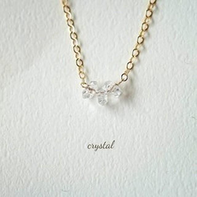 ~清める~水晶 K14GF 3粒ネックレス