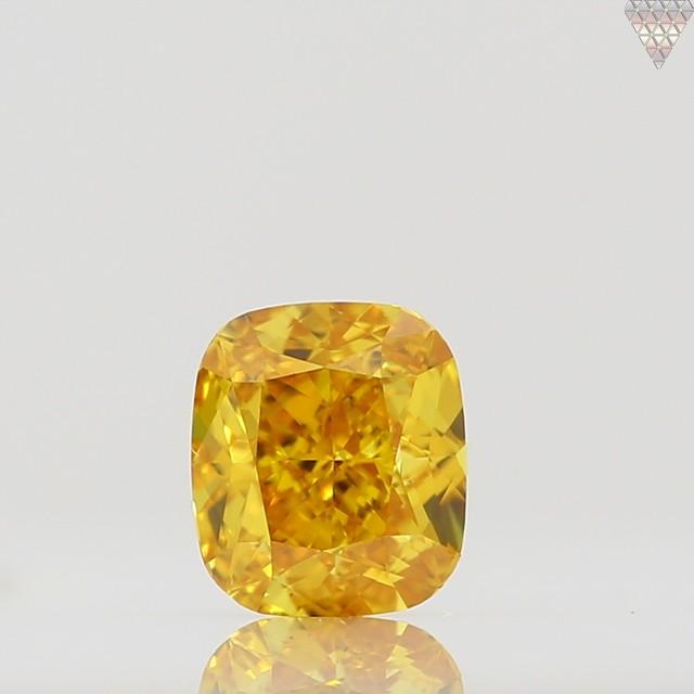 0.5 ct FANCY VIVID ORANGE-YELLOW VS2 CUSHION GIA 天然  ダイヤモンド ルース