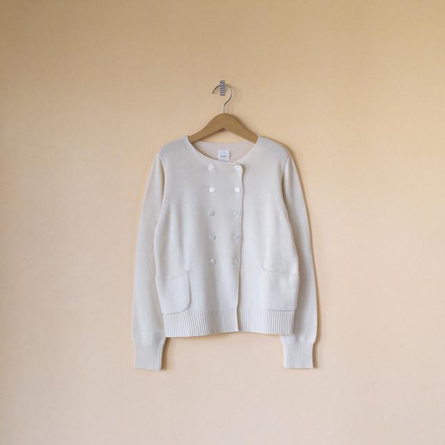 Gauze# ガーゼ G546 cotton cashmere knit jacket コットンカシミアニットジャケット・ミルク