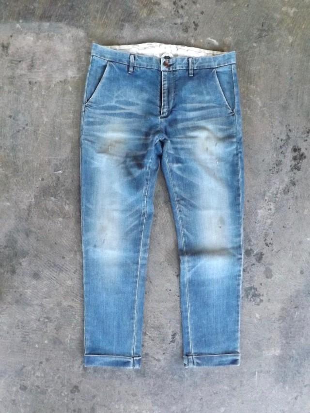 Men's  [ CM005-5500 ] デニムトラウザーズ  [Vintage Ocean wash  ブルー ]  ストレッチ,日本製,岡山デニム,メンズ