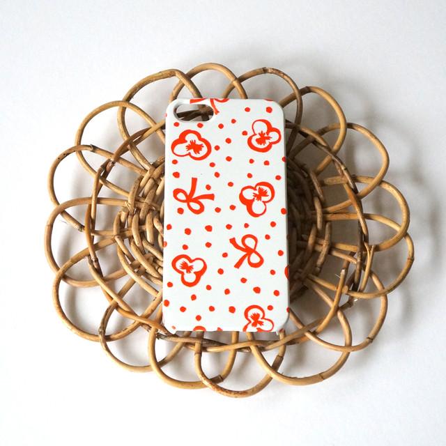 スミレとリボンと水玉 ( red ) ハードケース型スマホケース【受注生産】★ Lサイズは+400円