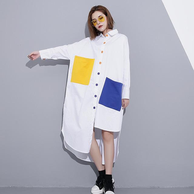 【ワンピース】カジュアル個性的シンプル切り替えシャツワンピース33709234