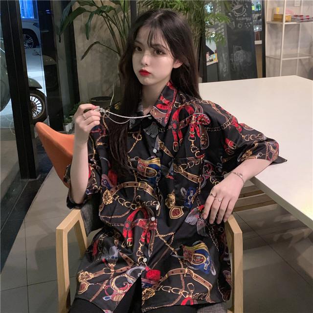【トップス】個性ファッションストリート系ゆったりシングルブレストシャツ19822842
