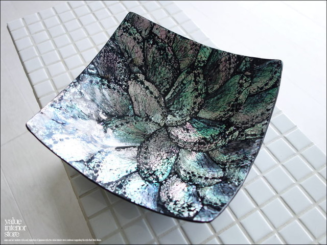 スクエアシェルトレイBK 貝細工 シンプル 小物入れ 飾り台 手づくり ハンドメイド トレー 小物置き 手作りトレイ