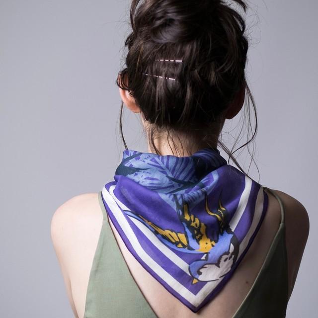 Organic Cotton 'canopy' Deep purple リング付きミニスカーフ