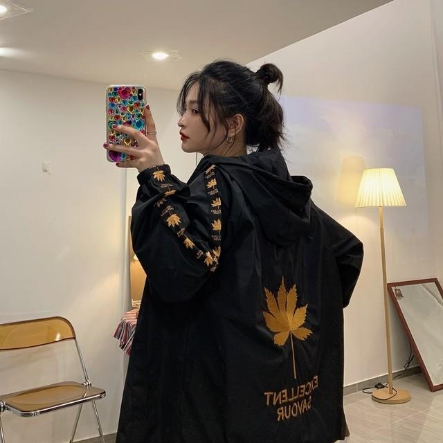 【アウター】プリントフード付きファッションジャケット34333053